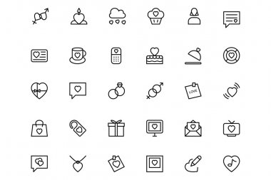 Love and Romance Vector Line Icons 2