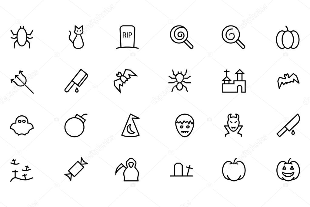 Halloween Vector Line Icons 3
