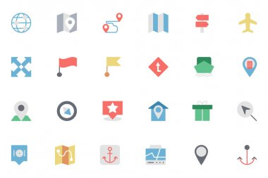 Map and Navigation Colored Icons 4