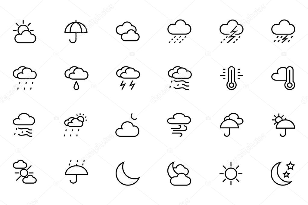 Weather Vector Line Icons 1
