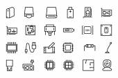 Fotografie Computer Hardware Vector Line Icons 3