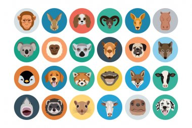 Animals Flat Colored Icons 2