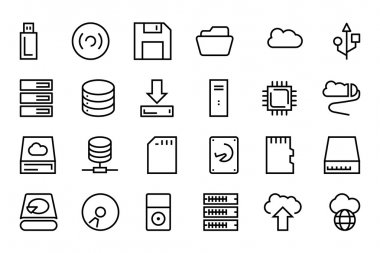 Data Storage Vector Line Icons 1