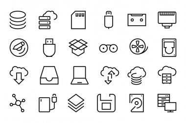 Data Storage Vector Line Icons 2