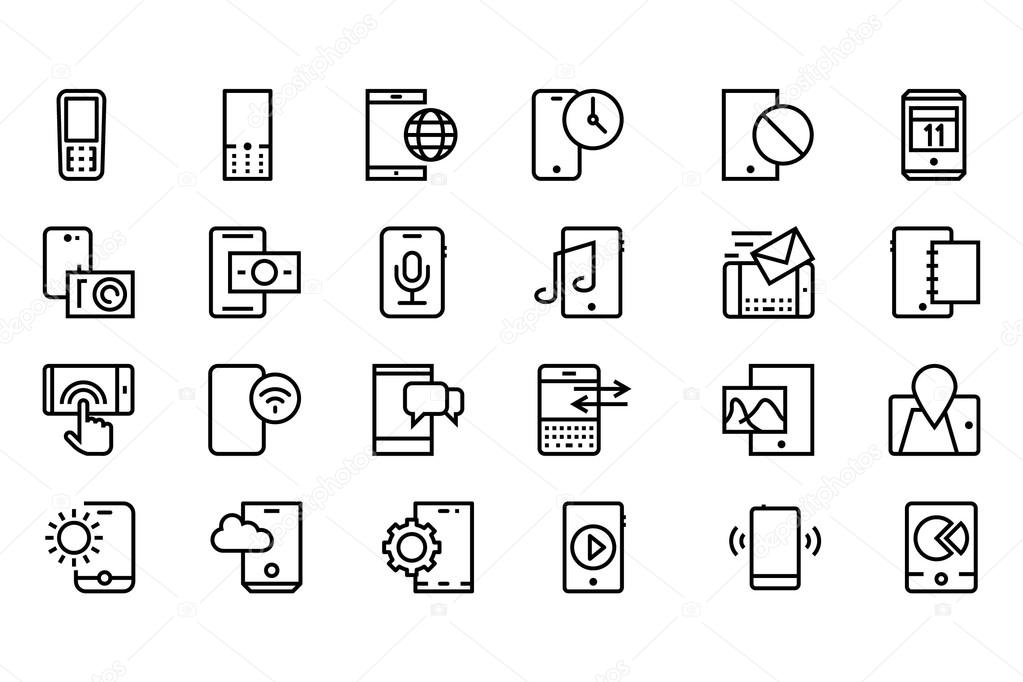 Mobile Vector Line Icons 3