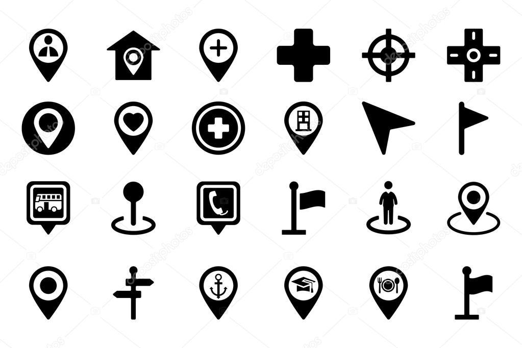 karten und navigation vektor icons 1 stockvektor. Black Bedroom Furniture Sets. Home Design Ideas