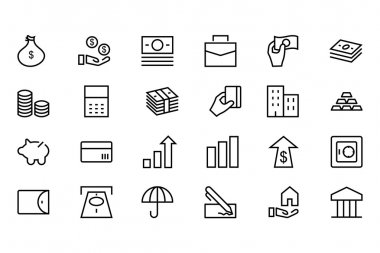 Money Vector Line Icons 1