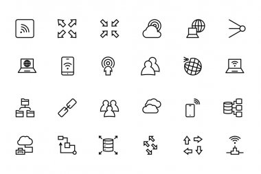 Network and Sharing Vector Outline Icons 4