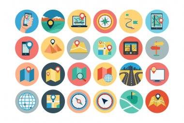 Maps and Navigation Flat Icons 1