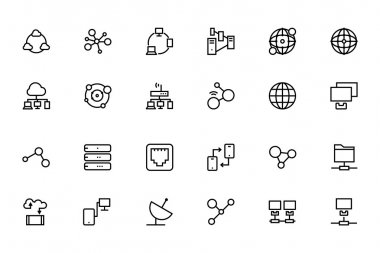 In a global world we manage a lot of information, around the world we interact with other people. We need to show and manage this info - use these network and sharing vector icons in your work. stock vector