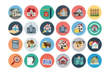 This trendy set of real estate vector icons are just perfect for real estate agencies and home insurance agencies, adverts and promotional materials. stock vector