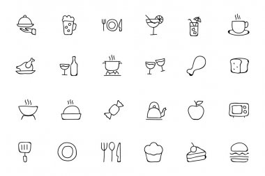 Food Hand Drawn Outline Vector Icons 1