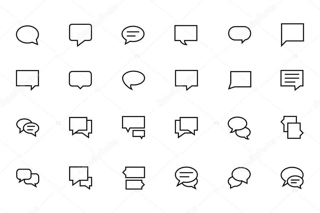 Chat Messages Line Vector Icons 2