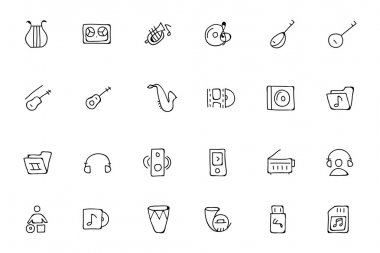 Music Hand Drawn Doodle Icons 3