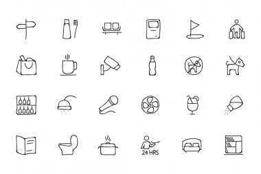 Hotel and Restaurant Doodle Icons 7