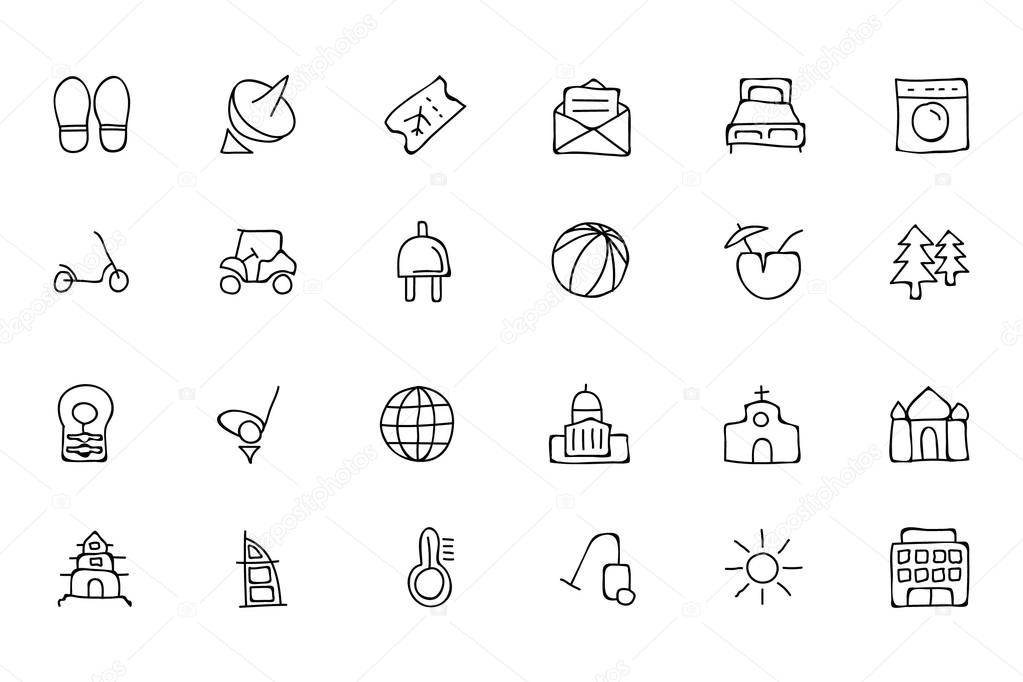 Hotel and Restaurant Doodle Icons 6