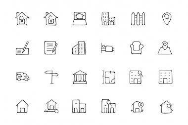 Real Estate Hand Drawn Doodle Icons 2