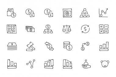 Finance Hand Drawn Doodle Icons 2