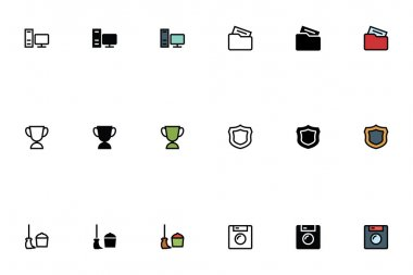 Education Outline, Filled and Colored Icons 10