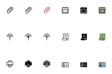 Education Outline, Filled and Colored Icons 12