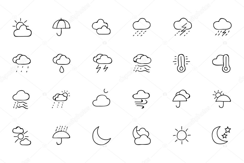 Weather Hand Drawn Doodle Icons 1