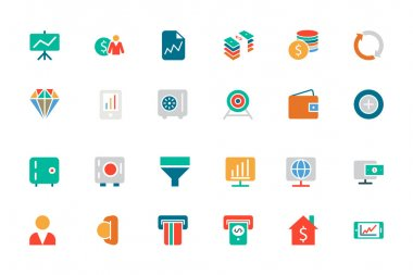 Banking and Finance Colored Vector Icons 3