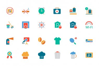 Hotel and Restaurant Colored Vector Icons 9