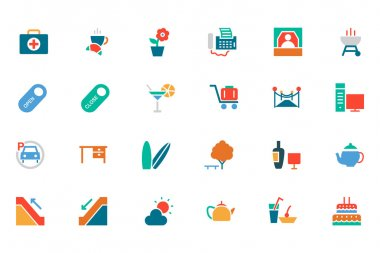 Hotel and Restaurant Colored Vector Icons 4