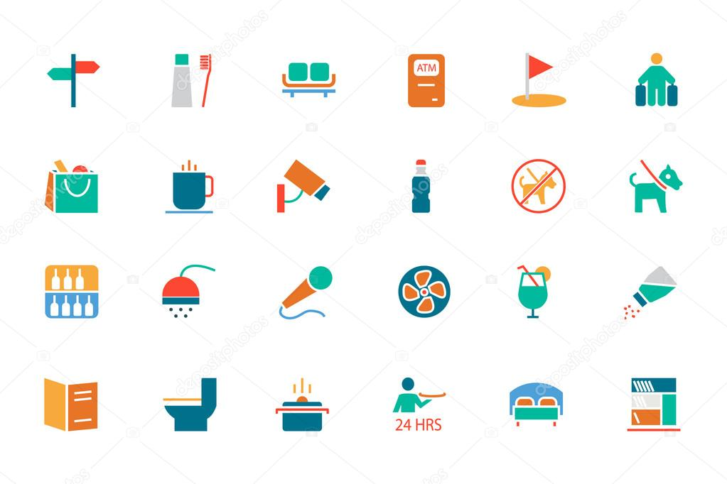 Hotel and Restaurant Colored Vector Icons 7