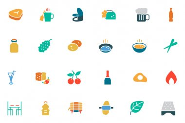 Food and Drinks Vector Colored Icons 11