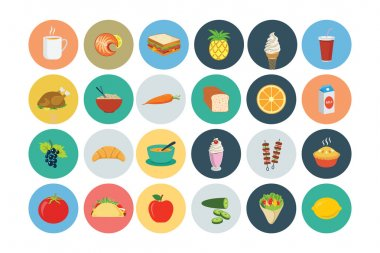 These Flat Food Vector Icons are perfect for all kind of restaurants, coffee shops, fast foods and any other business related to the food industry. stock vector