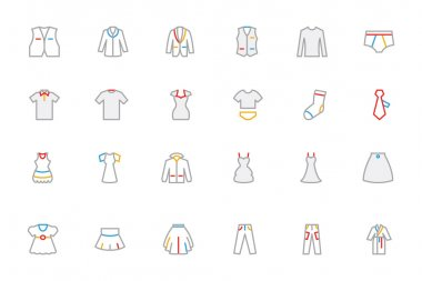 Clothes Colored Outline Vector Icons 2