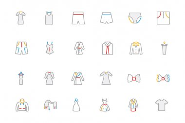 Clothes Colored Outline Vector Icons 3