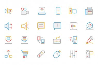 Communication Colored Outline Vector Icons 3