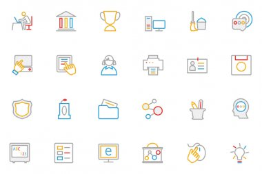 School and Education Colored Outline Vector Icons 4