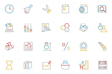 School and Education Colored Outline Vector Icons 5