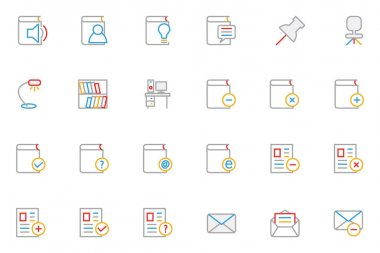School and Education Colored Outline Vector Icons 7