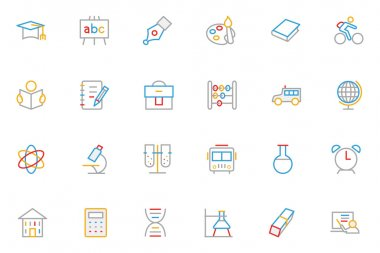 School and Education Colored Outline Vector Icons 1