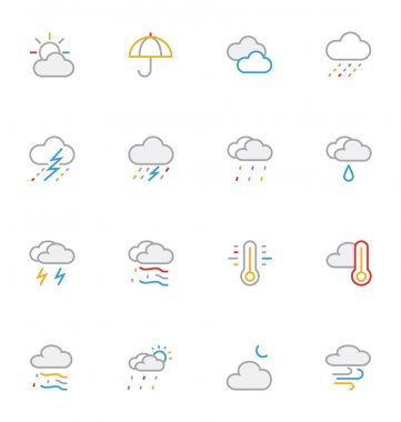 Weather Colored Outline Vector Icons 1