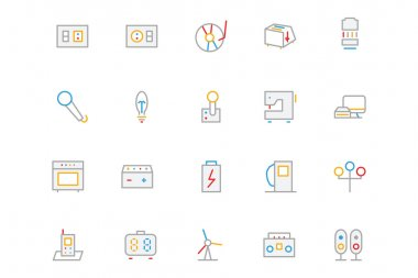 Electronics and Devices Colored Outline Icons 6