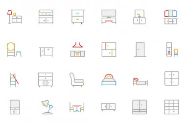 Furniture Colored Outline Vector Icons 3