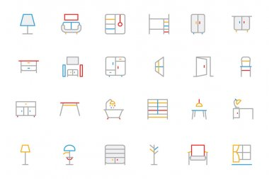 Furniture Colored Outline Vector Icons 2