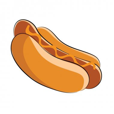 If you have fast food for sale, is for sure that you can find this colored sketchy hot dog icon useful for you website or design project. clip art vector