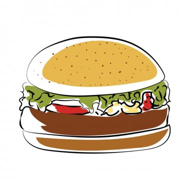Burger Hand Drawn Colored Vector Icon