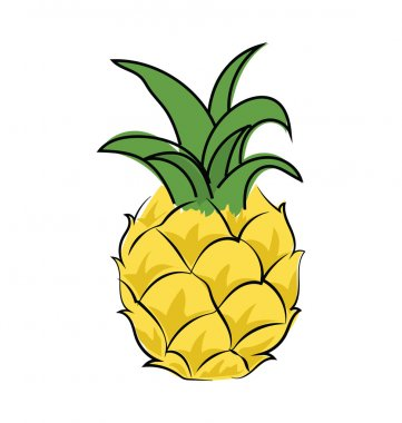Pineapple Colored Sketchy Vector Icon
