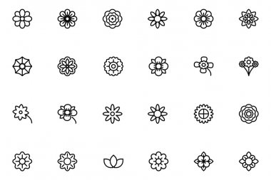 Flowers and Floral Line Vector Icons 1