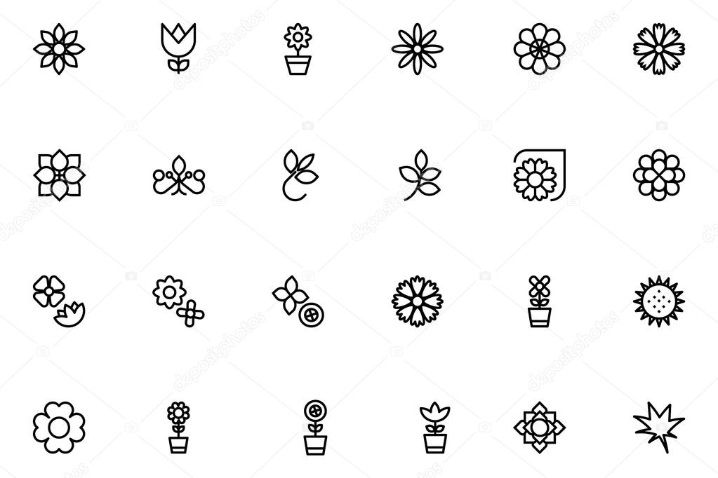 Flowers and Floral Line Vector Icons 3