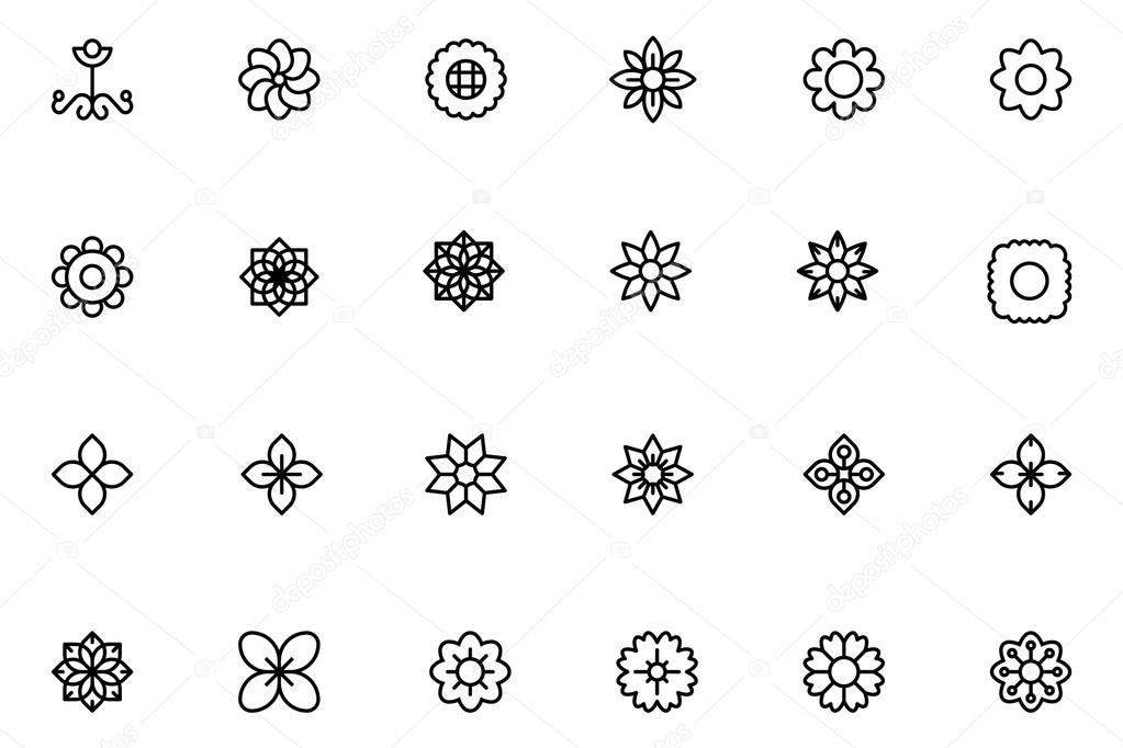 Flowers and Floral Line Vector Icons 2