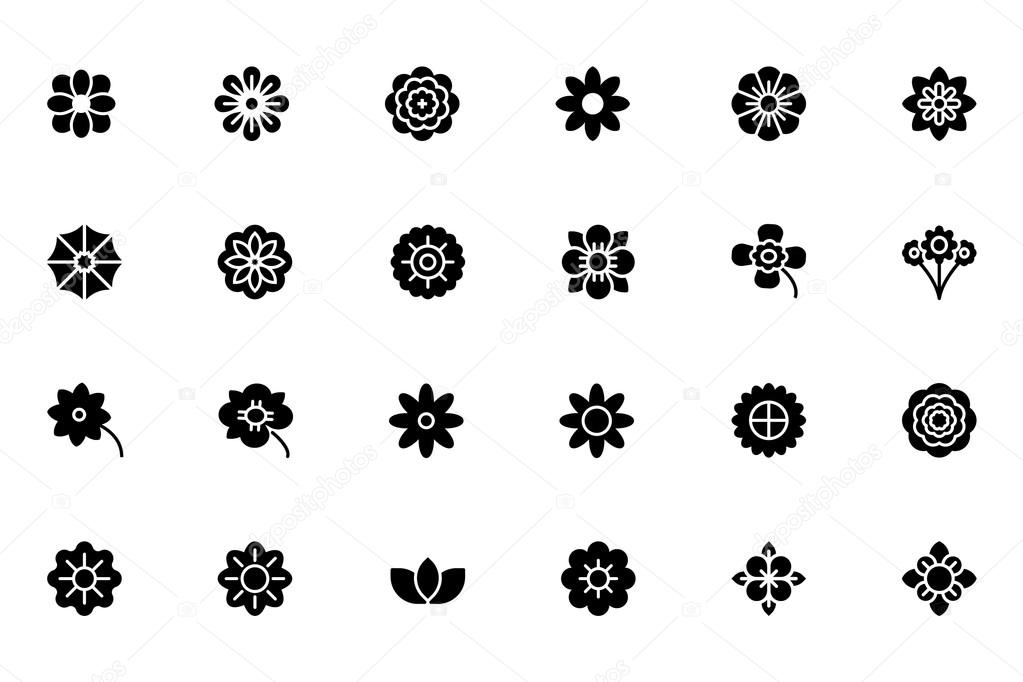 Flowers and Floral Vector Icons 1