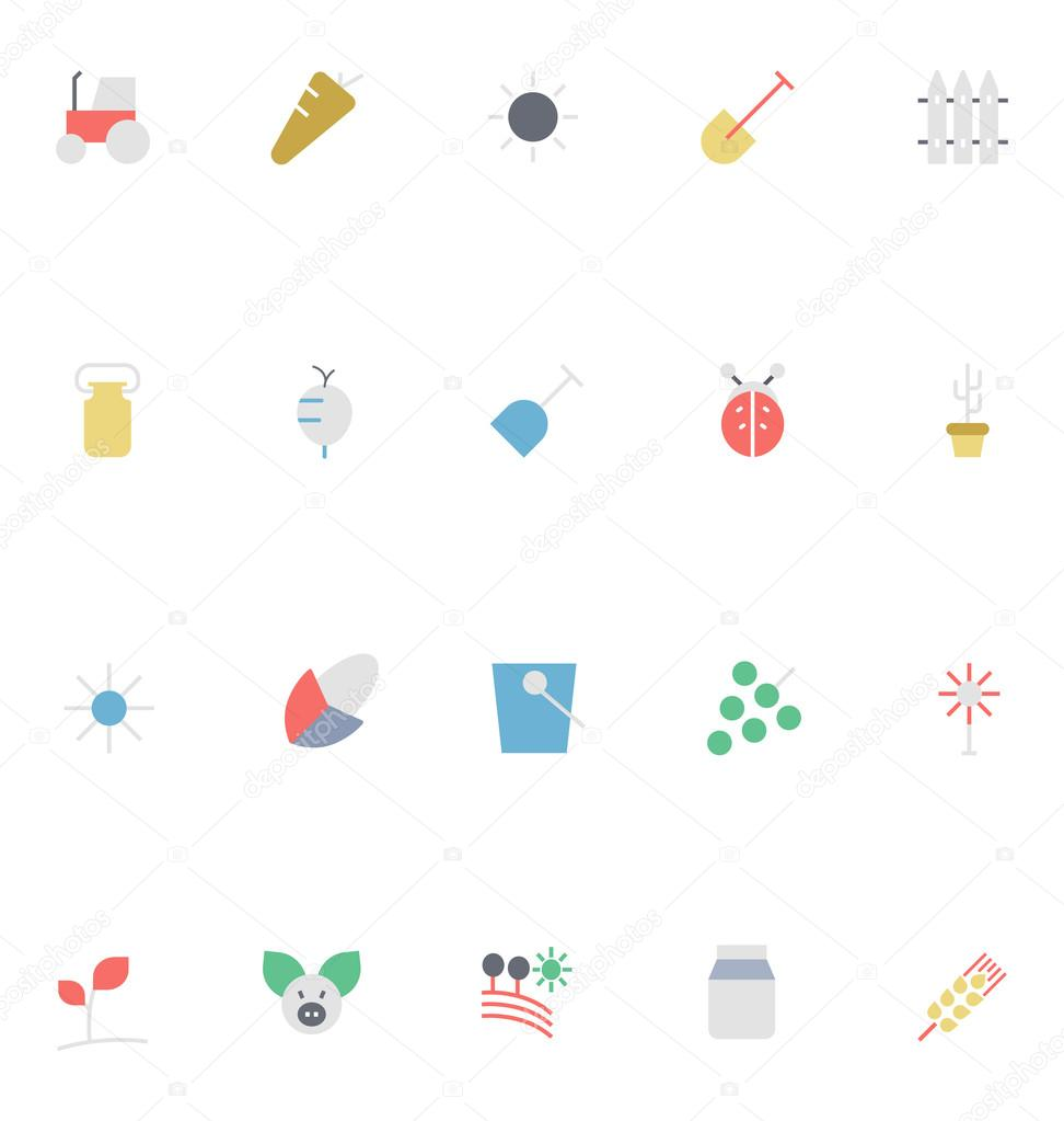 Agriculture Colored Vector Icons 2